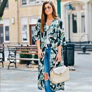 Rachel Zoe Palm Leaf Print Kimono NWT One Size